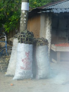 I learned that cashew trees when burned make excellent starter charcoal.  Todo needed some, and bought one of these large bags.