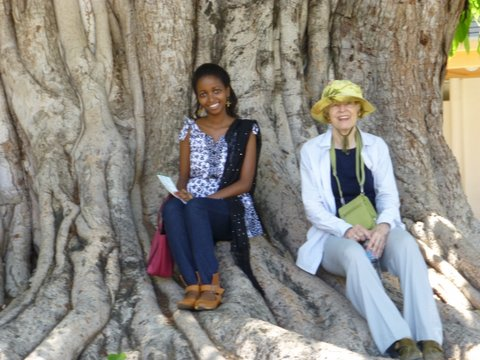 Dora, Ann at Natl Museum in garden at base of Banyan tree