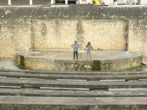 Stage inside the Old Fort with Paulyn and Dorah acting a scene for us.