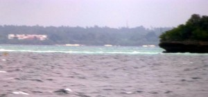 While the ocean was grey, in the distance not far from the Zanzibar shows we saw a section of the ocean very blue/green