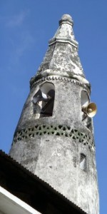 All over Zanzibar are mosques.  This one has loud speakers calling Muslims to prayer several times a day.