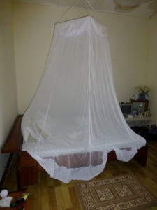 My bedroom has the mosquito netting already installed (and very much needed).
