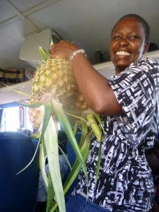 Rube bought pineapple as a gift for our hosts this evening.